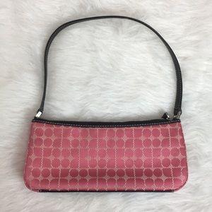 Kate Spade Pink Dot Noel Fabric Mini Purse RARE